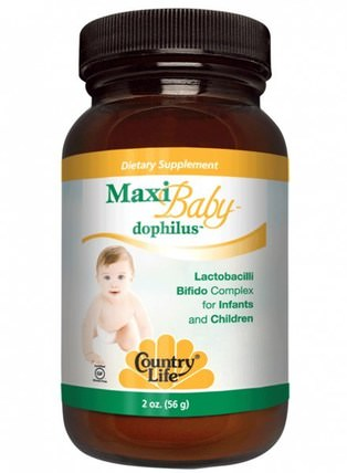 Maxi Baby Dophilus, Powder, 2 oz (56 g) by Country Life, 兒童健康,嬰兒,嬰兒補品,酶 HK 香港