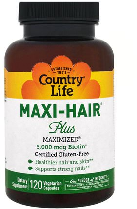 Maxi Hair Plus, 5.000 mcg, 120 Veggie Caps by Country Life, 維生素,維生素B,生物素 HK 香港