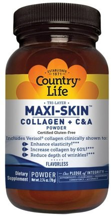 Maxi-Skin Collagen + C & A Powder, Flavorless, 2.74 oz (78 g) by Country Life, 健康,骨骼,骨質疏鬆症,膠原蛋白,女性,皮膚 HK 香港