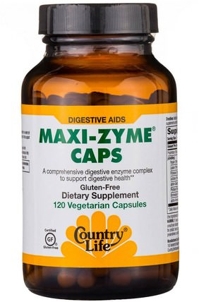Maxi-Zyme Caps, 120 Vegetarian Capsules by Country Life, 補充劑,消化酶 HK 香港