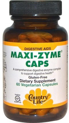 Maxi-Zyme Caps, 60 Vegetarian Capsules by Country Life, 補充劑,酶,乳糖酶 HK 香港