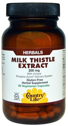 Milk Thistle Extract, 200 mg, 60 Veggie Caps by Country Life, 健康,排毒,奶薊(水飛薊素) HK 香港