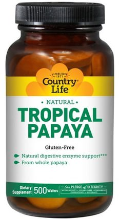Natural, Tropical Papaya, 500 Wafers by Country Life, 補充劑,酶,木瓜木瓜蛋白酶 HK 香港