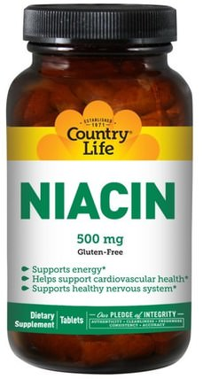 Niacin, 500 mg, 90 Tablets by Country Life, 維生素,維生素b,維生素b3,維生素b3 - 菸酸 HK 香港