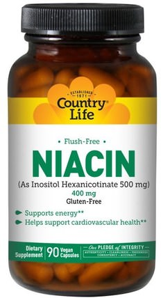Country Life, Niacin, Flush-Free, 400 mg, 90 Vegan Caps 維生素,維生素b,維生素b3,維生素b3  - 菸酸