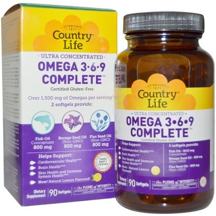 Ultra Concentrated Omega 3-6-9 Complete, Natural Lemon, 90 Softgels by Country Life, 補充劑,efa omega 3 6 9(epa dha),魚油 HK 香港