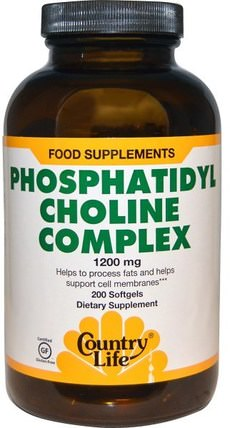 Phosphatidyl Choline Complex, 1200 mg, 200 Softgels by Country Life, 維生素,膽鹼,磷脂酰膽鹼 HK 香港