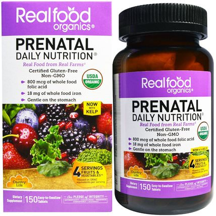 Realfood Organics, Prenatal, Daily Nutrition, 150 Tablets by Country Life, 維生素,產前多種維生素 HK 香港