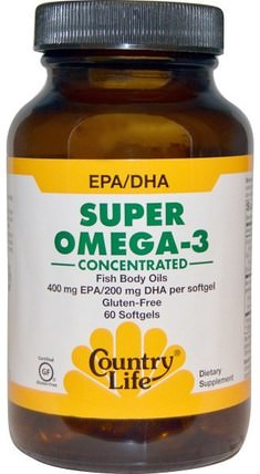 Super Omega-3, Concentrated, 60 Softgels by Country Life, 補充劑,efa omega 3 6 9(epa dha),魚油 HK 香港