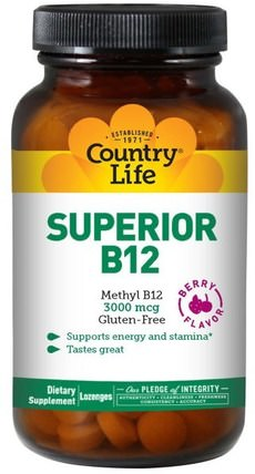 Superior B12, Berry Flavor, 3000 mcg, 120 Sublingual Lozenges by Country Life, 維生素,維生素b12 HK 香港