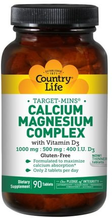 Target-Mins, Calcium Magnesium Complex, with Vitamin D3, 90 Tablets by Country Life, 補充劑,氨基酸,礦物質,鈣和鎂 HK 香港