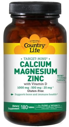 Target-Mins, Calcium Magnesium Zinc, 180 Tablets by Country Life, 補充劑,礦物質,鈣和鎂 HK 香港