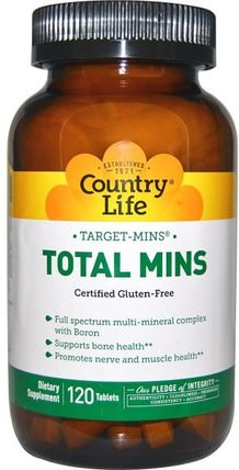 Target-Mins, Total Mins, 120 Tablets by Country Life, 補品,礦物質,多種礦物質 HK 香港