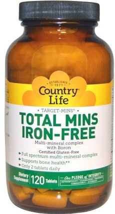 Total Mins Iron-Free, Multi-Mineral Complex with Boron, 120 Tablets by Country Life, 補品,礦物質,多種礦物質 HK 香港