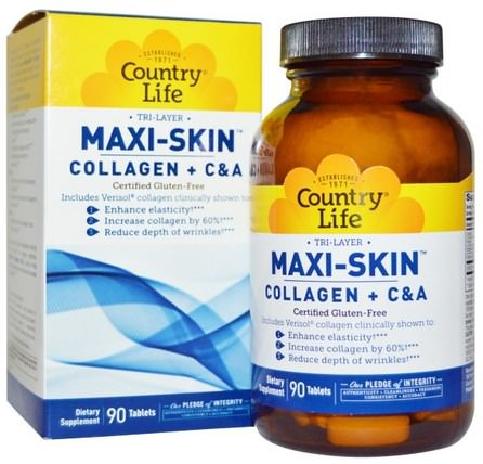 Tri Layer Maxi-Skin, Collagen Plus CA, 90 Tablets by Country Life, 健康,女性,皮膚,頭髮補充劑,指甲補充劑,皮膚補充劑 HK 香港