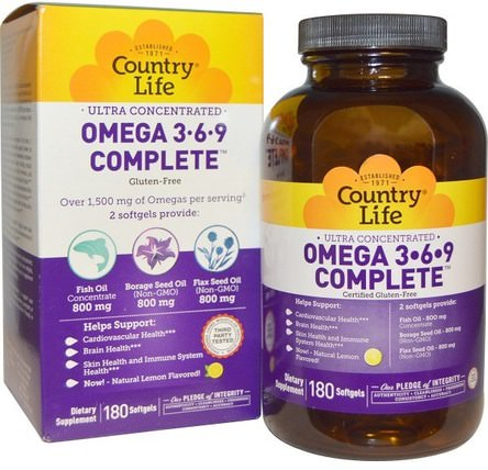 Ultra Concentrated Omega 3-6-9 Complete, Natural Lemon, 180 Softgels by Country Life, 補充劑,efa歐米茄3 6 9(epa dha),歐米茄369粒/標籤 HK 香港
