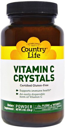 Vitamin C Crystals, 8 oz (226 g) by Country Life, 維生素,維生素C粉和水晶 HK 香港