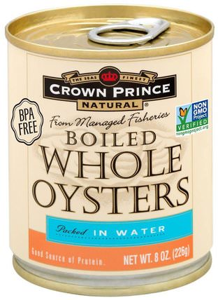 Boiled Whole Oysters, Packed In Water, 8 oz (226 g) by Crown Prince Natural, 食物,金槍魚和海鮮,皇太子天然牡蠣和蛤蜊 HK 香港
