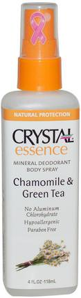 Crystal Essence, Mineral Deodorant Body Spray, Chamomile & Green Tea, 4 fl oz (118 ml) by Crystal Body Deodorant, 洗澡,美容,除臭噴霧 HK 香港