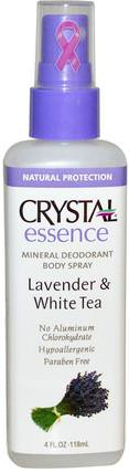 Crystal Essence, Mineral Deodorant Body Spray, Lavender & White Tea, 4 fl oz (118 ml) by Crystal Body Deodorant, 浴,美容,除臭噴霧,除臭女性 HK 香港