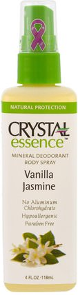 Crystal Essence, Mineral Deodorant Body Spray, Vanilla Jasmine, 4 fl oz (118 ml) by Crystal Body Deodorant, 洗澡,美容,除臭噴霧 HK 香港