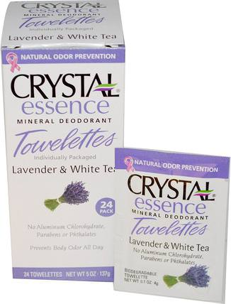Crystal Essence Mineral Deodorant, Lavender & White Tea, 24 Towelettes by Crystal Body Deodorant, 洗澡,美容,除臭女性 HK 香港