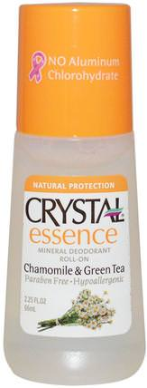 Crystal Essence, Mineral Deodorant Roll On, Chamomile & Green Tea, 2.25 fl oz (66 ml) by Crystal Body Deodorant, 沐浴,美容,除臭劑,滾裝除臭劑 HK 香港