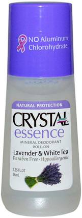Crystal Essence, Mineral Deodorant Roll-On, Lavender & White Tea, 2.25 fl oz (66 ml) by Crystal Body Deodorant, 浴,美容,除臭劑,滾裝除臭女性 HK 香港