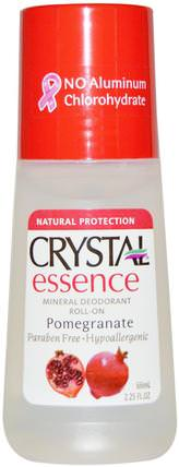 Crystal Essence, Mineral Deodorant Roll-On, Pomegranate, 2.25 fl oz (66 ml) by Crystal Body Deodorant, 浴,美容,除臭劑,滾裝除臭女性 HK 香港