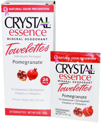 Crystal Essence Mineral Deodorant Towelettes, Pomegranate, 24 Towelettes, 0.1 oz (4 g) Each by Crystal Body Deodorant, 洗澡,美容,除臭女性 HK 香港
