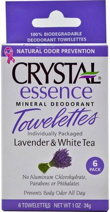 Essence Mineral Deodorant Towelettes, Lavender & White Tea, 6 Towelettes, 0.1 oz (34 g) Each by Crystal Body Deodorant, 洗澡,美容,除臭女性 HK 香港