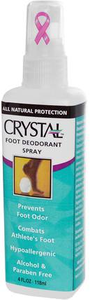 Foot Deodorant Spray, 4 fl oz (118 ml) by Crystal Body Deodorant, 洗澡,美容,除臭噴霧,腳部護理 HK 香港