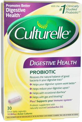 Digestive Health Probiotic, 30 Once Daily Capsules by Culturelle, 補充劑,益生菌,穩定的益生菌 HK 香港