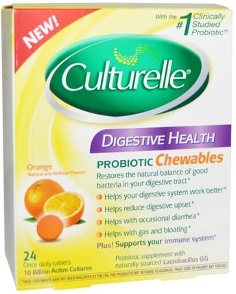 Digestive Health, Probiotic Chewables, Orange, 24 Tablets by Culturelle, 補充劑,益生菌,穩定的益生菌 HK 香港