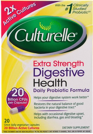 Extra Strength, Digestive Health, Daily Probiotic Formula, 20 Once Daily Veggie Caps by Culturelle, 補充劑,益生菌,穩定的益生菌 HK 香港