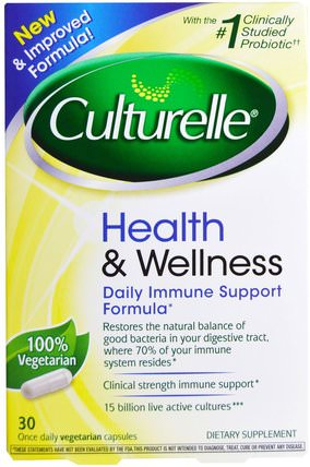 Health & Wellness, Daily Immune Support Formula, 30 Veggie Caps by Culturelle, 補充劑,益生菌,穩定的益生菌 HK 香港