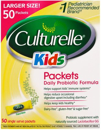 Kids, Packets, Daily Probiotic Formula, 50 Single Serve Packets by Culturelle, 補充劑,益生菌,兒童益生菌,穩定的益生菌 HK 香港