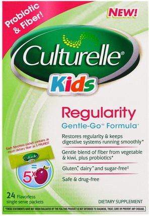 Kids, Regularity, Gentle-Go Formula, 24 Flavorless Single Serve Packets by Culturelle, 補充劑,益生菌,兒童益生菌 HK 香港