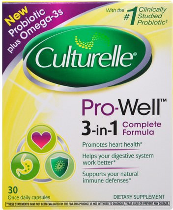 Pro-Well, 3-in-1 Complete Formula, 30 Capsules by Culturelle, 補充劑,益生菌,穩定的益生菌 HK 香港