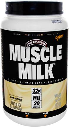 Inc, Genuine Muscle Milk, Lean Muscle Protein, Cake Batter, 39.5 oz (1120 g) by Cytosport, 補充劑,乳清蛋白,鍛煉 HK 香港