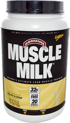 Inc, Genuine Muscle Milk, Natures Ultimate Lean Muscle Protein, Cookies N Cream, 39.5 oz (1120 g) by Cytosport, 補充劑,乳清蛋白,鍛煉 HK 香港