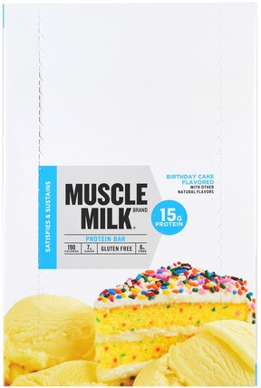 Inc, Muscle Milk, Protein Bar, Birthday Cake, 12 Bars, 1.76 oz (50 g) Each by Cytosport, 運動,補品,蛋白質 HK 香港