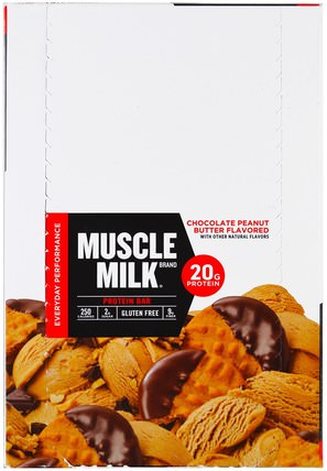 Inc, Muscle Milk, Protein Bar, Chocolate Peanut Butter, 12 Bars, 2.25 oz (64 g) Each by Cytosport, 運動,補品,蛋白質 HK 香港