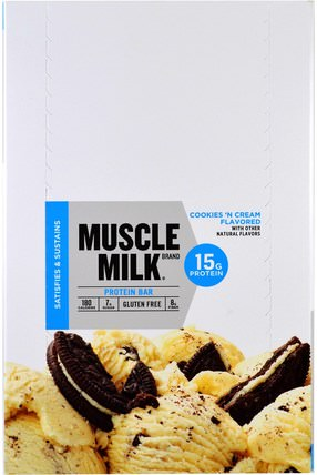 Inc, Muscle Milk, Protein Bar, Cookies N Cream, 12 Bars, 1.76 oz (50 g) Each by Cytosport, 運動,補品,蛋白質 HK 香港