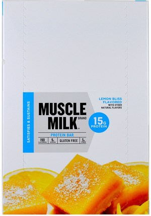 Inc, Muscle Milk, Protein Bar, Lemon Bliss Flavored, 12 Bars, 1.76 oz (50 g) by Cytosport, 運動,補品,蛋白質 HK 香港