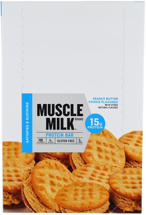 Inc, Muscle Milk Protein Bar, Peanut Butter Cookie Flavored, 12 Bars, 1.76 oz (50 g) Each by Cytosport, 運動,蛋白質棒 HK 香港