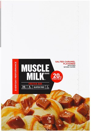Inc, Muscle Milk, Protein Bar, Salted Caramel, 12 Bars, 2.25 oz (64 g) Each by Cytosport, 運動,補品,蛋白質 HK 香港