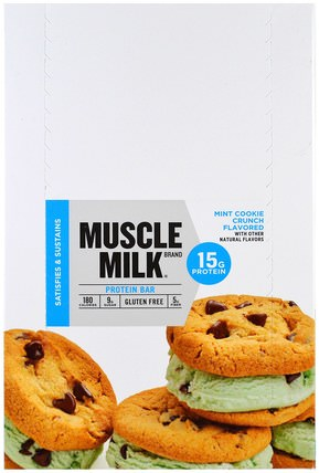 Inc, Muscle Milk, Protein, Mint Cookie Crunch, 12 Bars, 1.72 oz (49 g) Each by Cytosport, 運動,補品,蛋白質 HK 香港