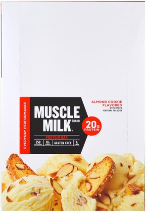 Inc, Muscle Milk Red Bar, Almond Cookie, 12 Bars, 2.25 oz (64 g) Each by Cytosport, 運動,補品,蛋白質 HK 香港