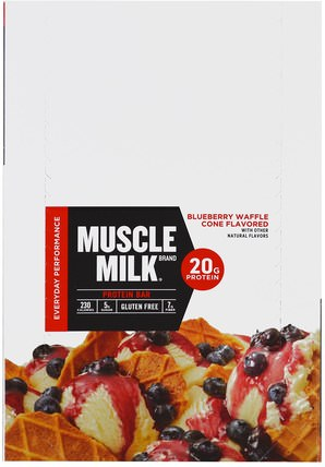 Inc, Muscle Milk Red Bar, Blueberry Waffle Cone, 12 Bars, 2.18 oz (62 g) Each by Cytosport, 運動,補品,蛋白質 HK 香港